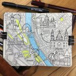 City Map Drawing of Budapest