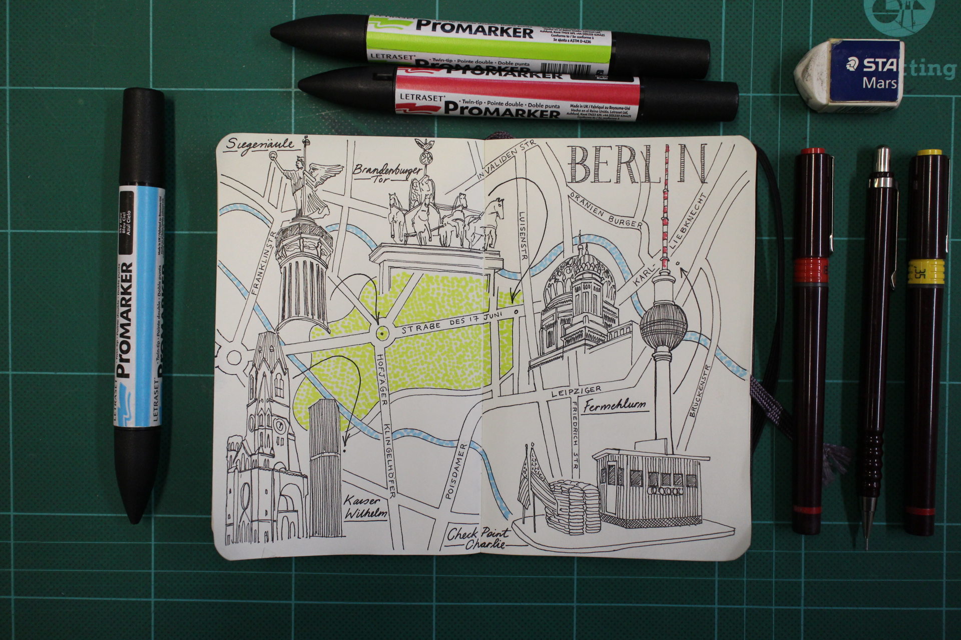City Day Trip Map Drawing of Berlin