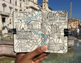 City Map Drawing of Rome, Italy