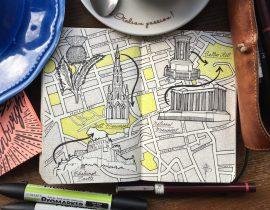 City Day Trip Map Drawing of Edinburgh, Scotland