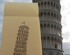 Europe Traveling Sketch ~ Italy Leaning Tower of Pisa