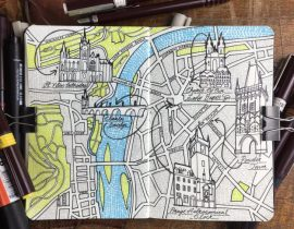 City Day Trip Map Drawing of Prague
