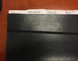 Monthly calendar tabs