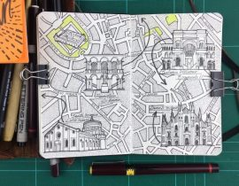 City Day Trip Map Drawing of Milan, Italy