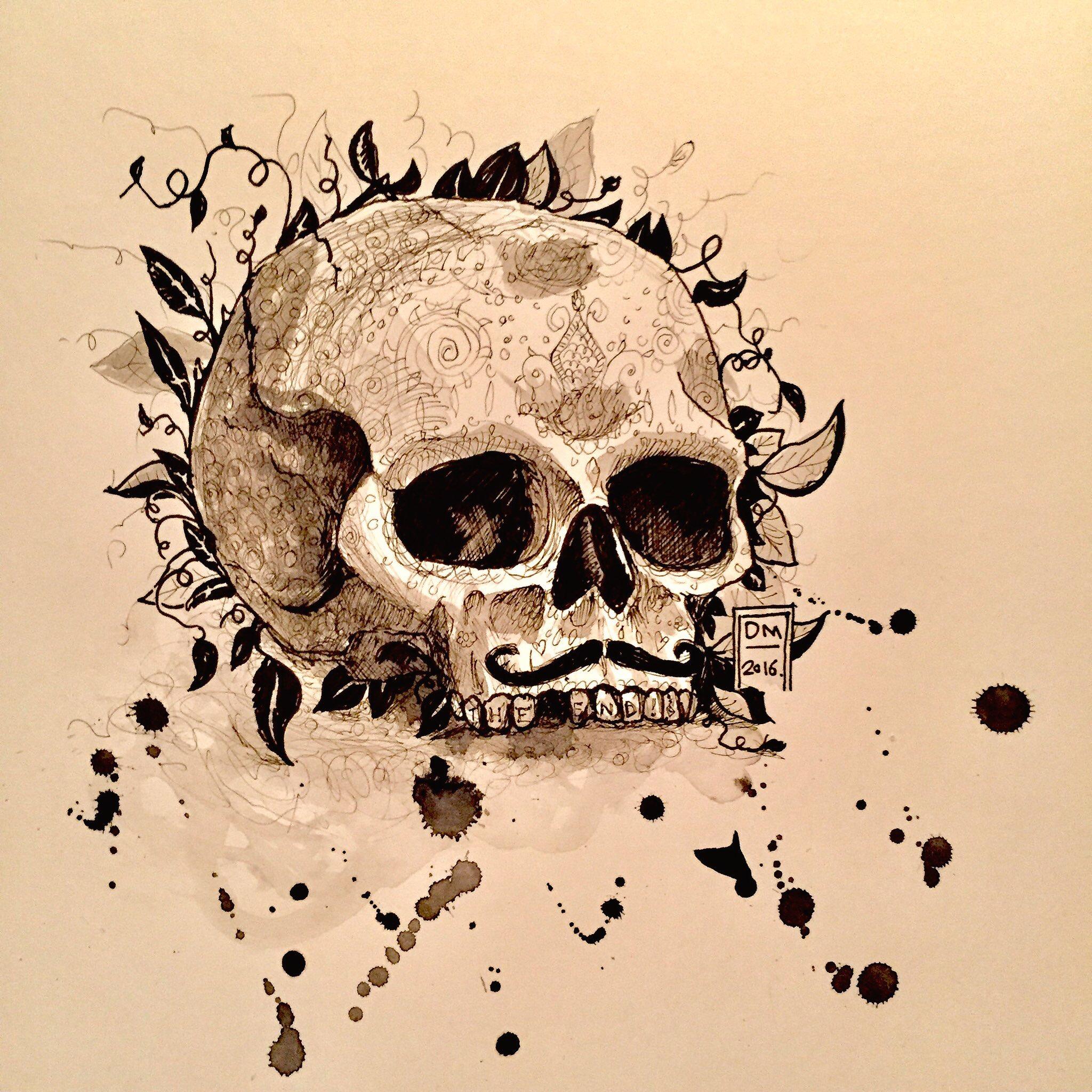 Halloween skull, pen and ink