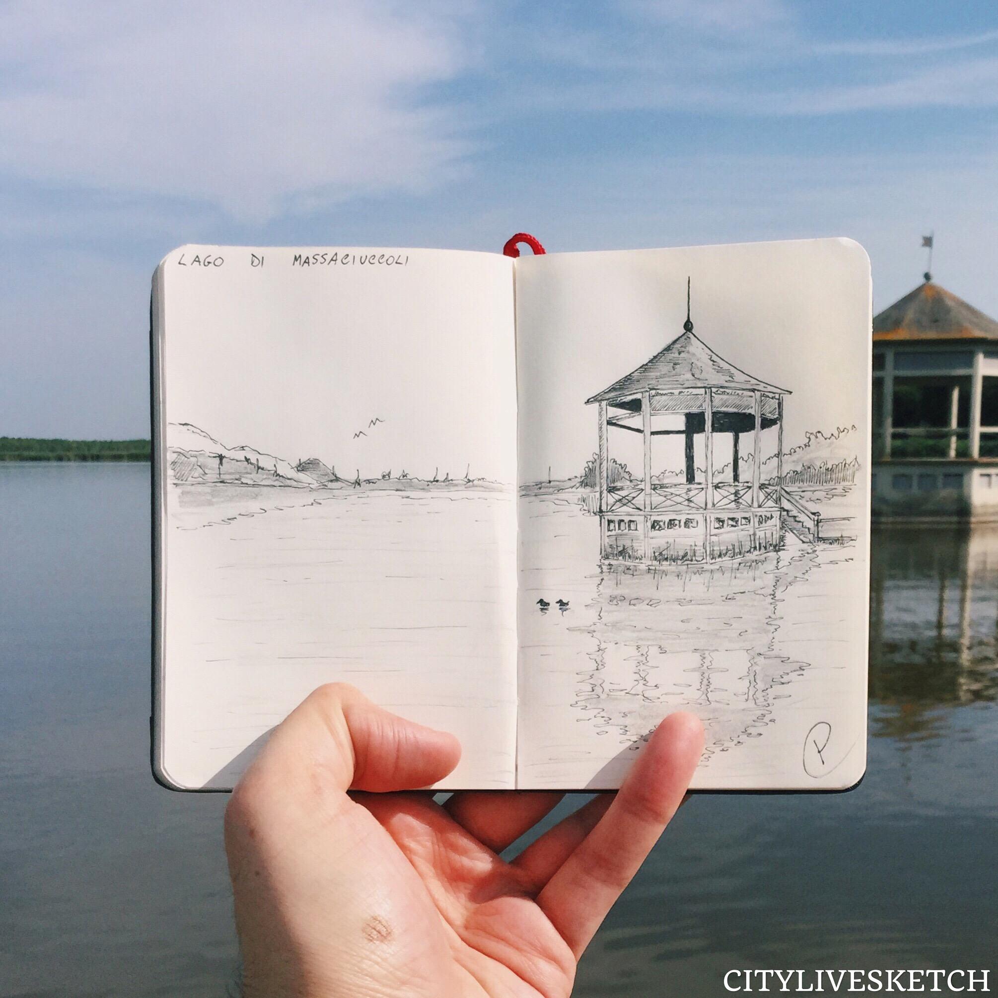 Massaciuccoli Lake Live Sketch