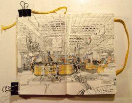 interior sketch – at Ikea restaurant