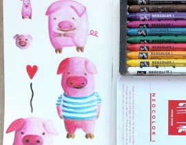 Piggie study with crayon