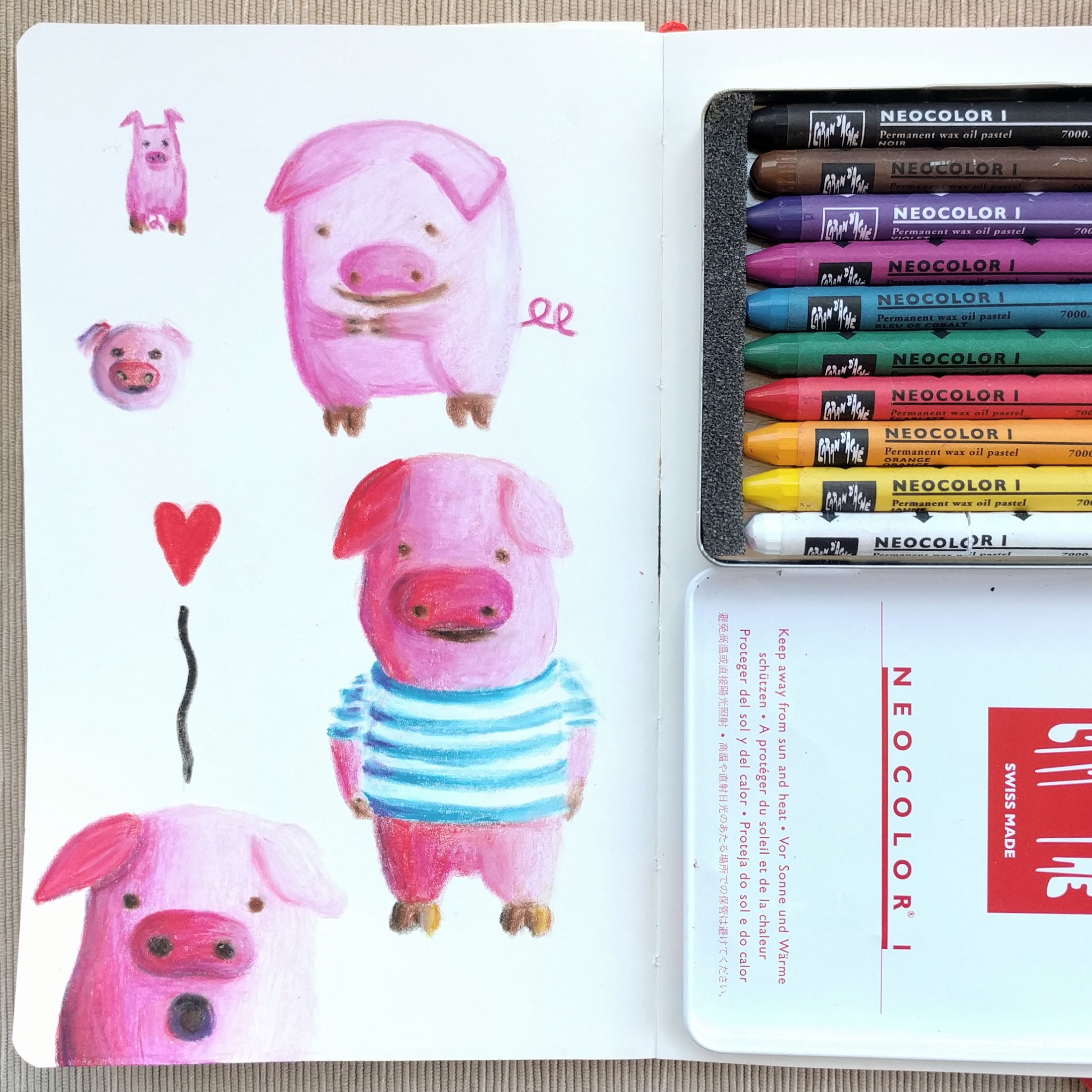 Piggie study with crayon