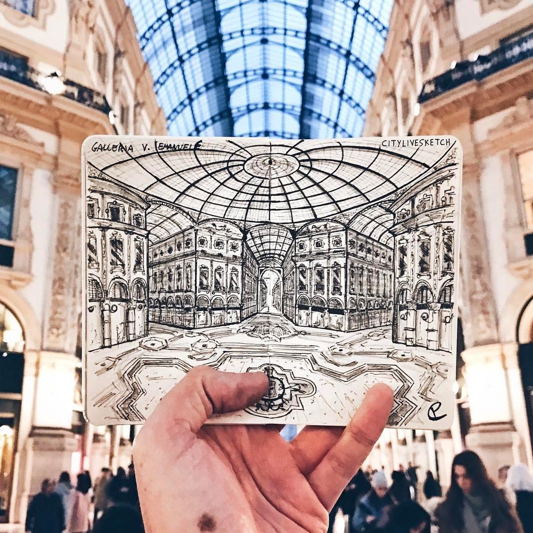 Galleria Vittorio Emanuele Live Sketch