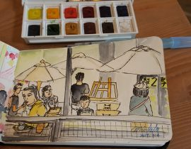 People Sketch at The Pier-2 Art Center