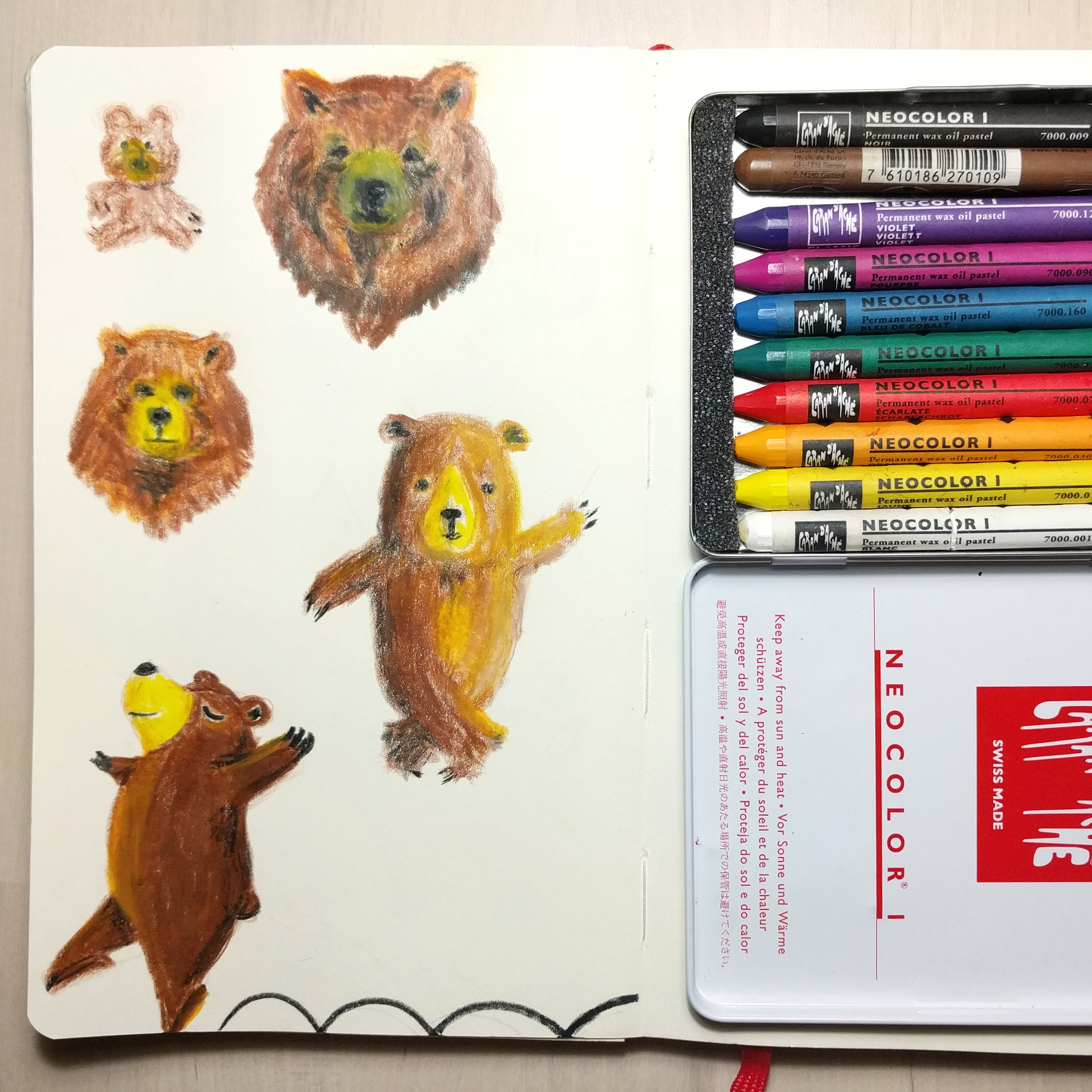 Bears study with crayons