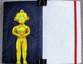 Golden statue with markers