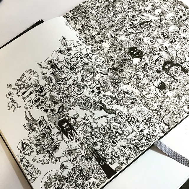 Double page spread monster mayhem