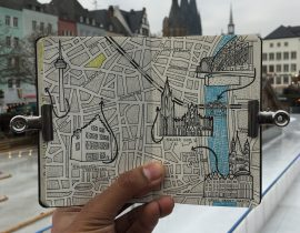 City Map Drawing of Cologne, Germany