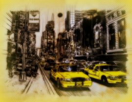 cabs in NYC, from rearview mirror