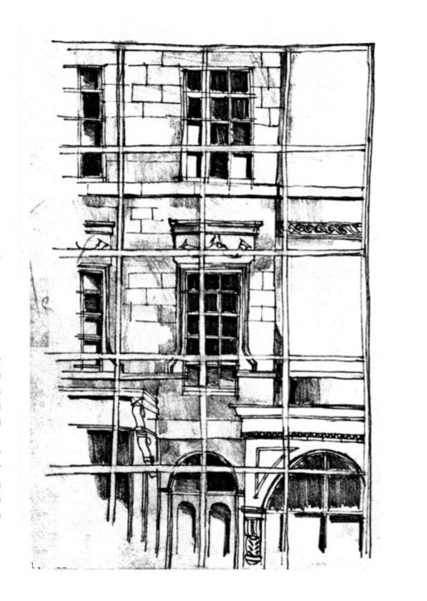 Madrid – scaffolding in front of old building