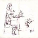 Summertime,  blonde girl  at the restaurant