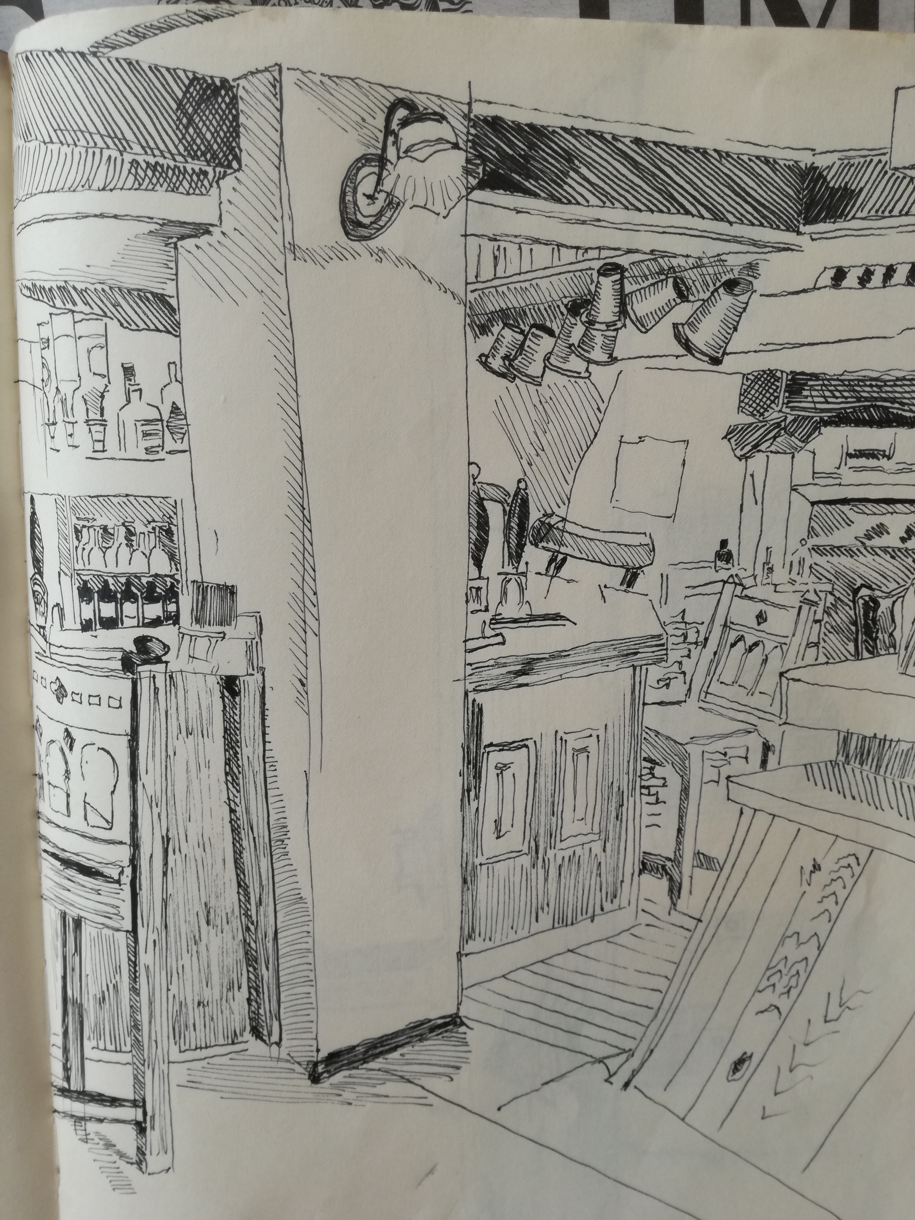 Hare and Hounds, Greatford 28/6/17 pen/ink