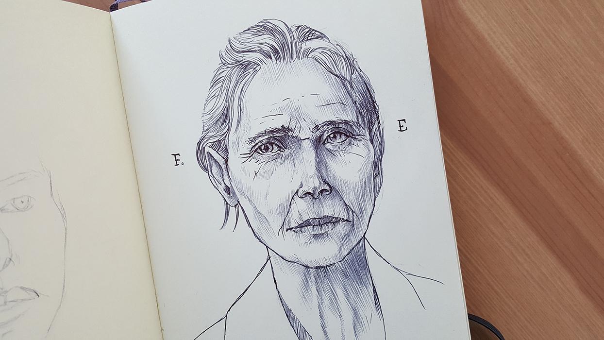 Female sketh portrait