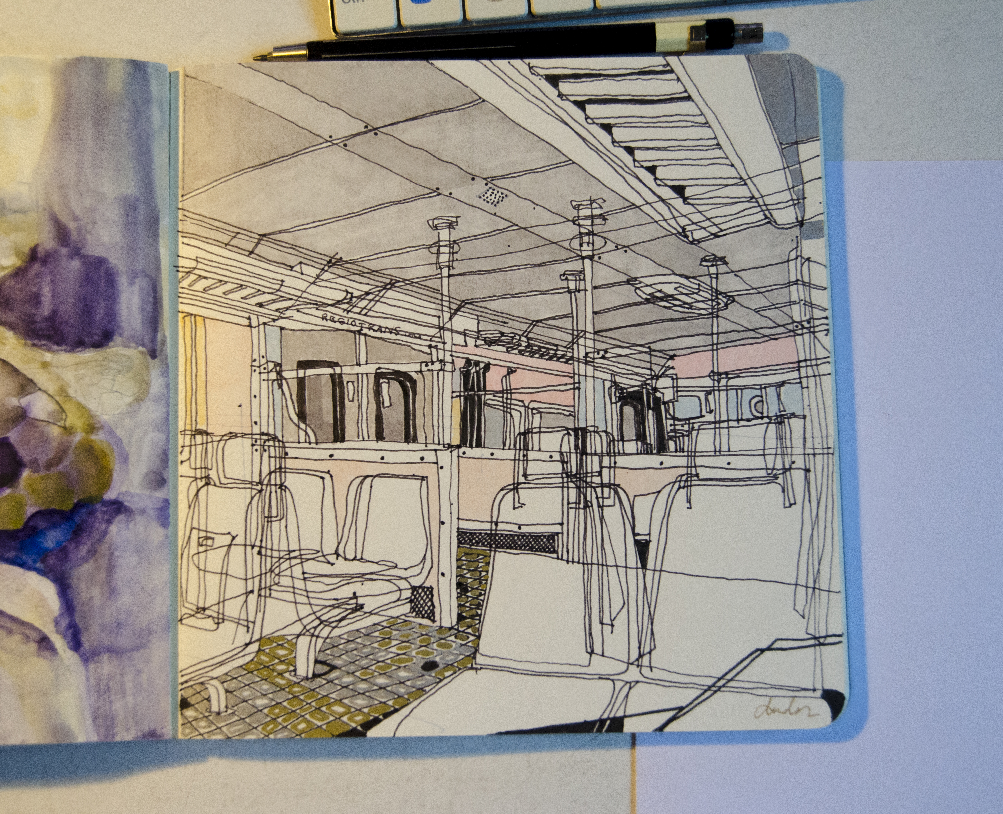 drawing in a train