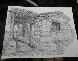 stone cottage house pen & ink