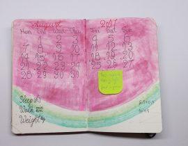 A monthly spread in my MSK art journal