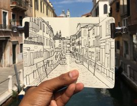Moleskine Sketchbook Drawing of Venice, Italy