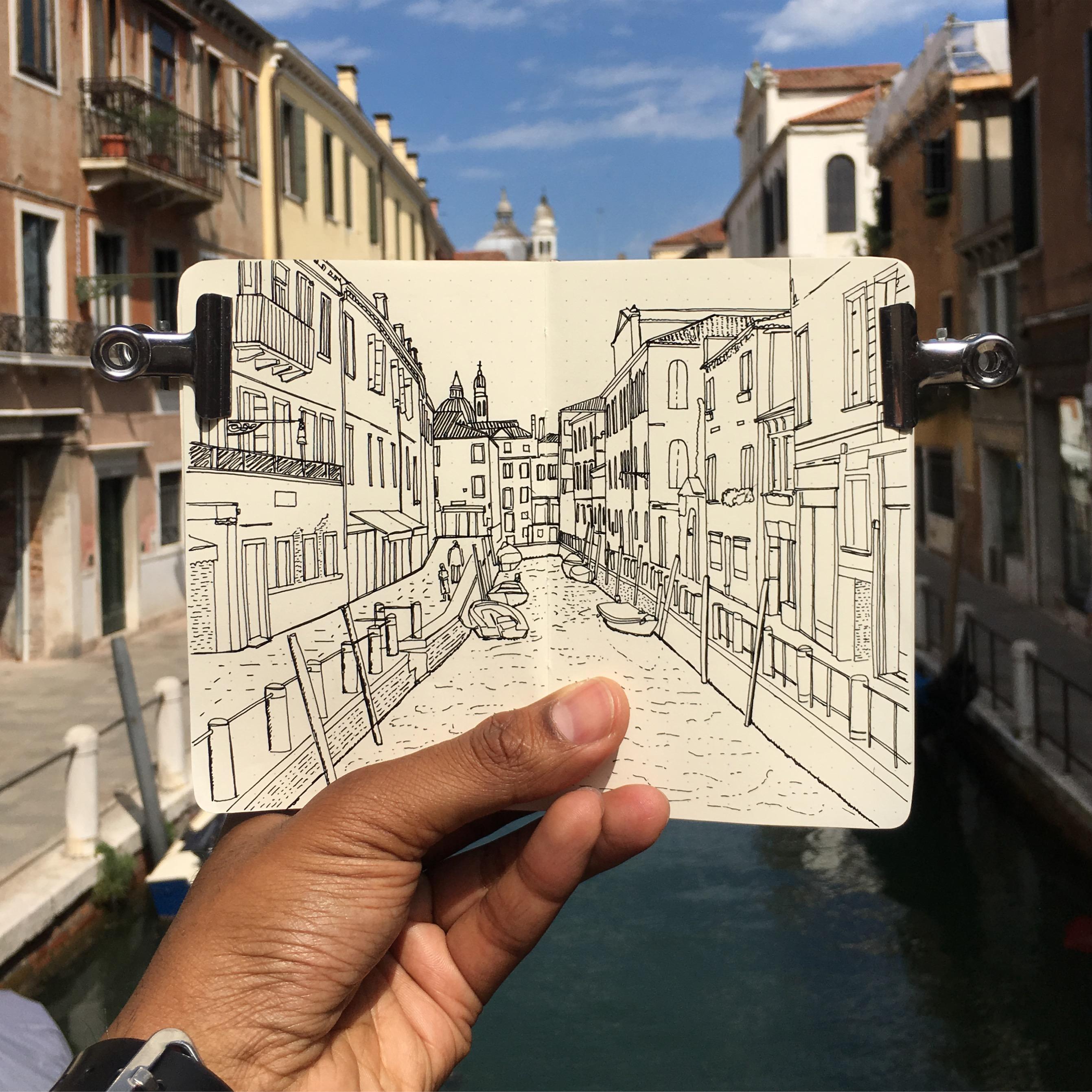 Moleskine Sketchbook Drawing of Venice, Italy
