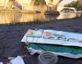 sketching Ponte Sisto in Rome