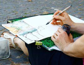 sketching Ponte Sisto in Rome
