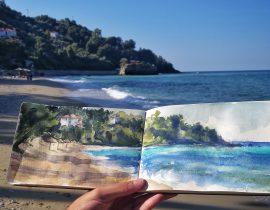 Last sunrays at the beach