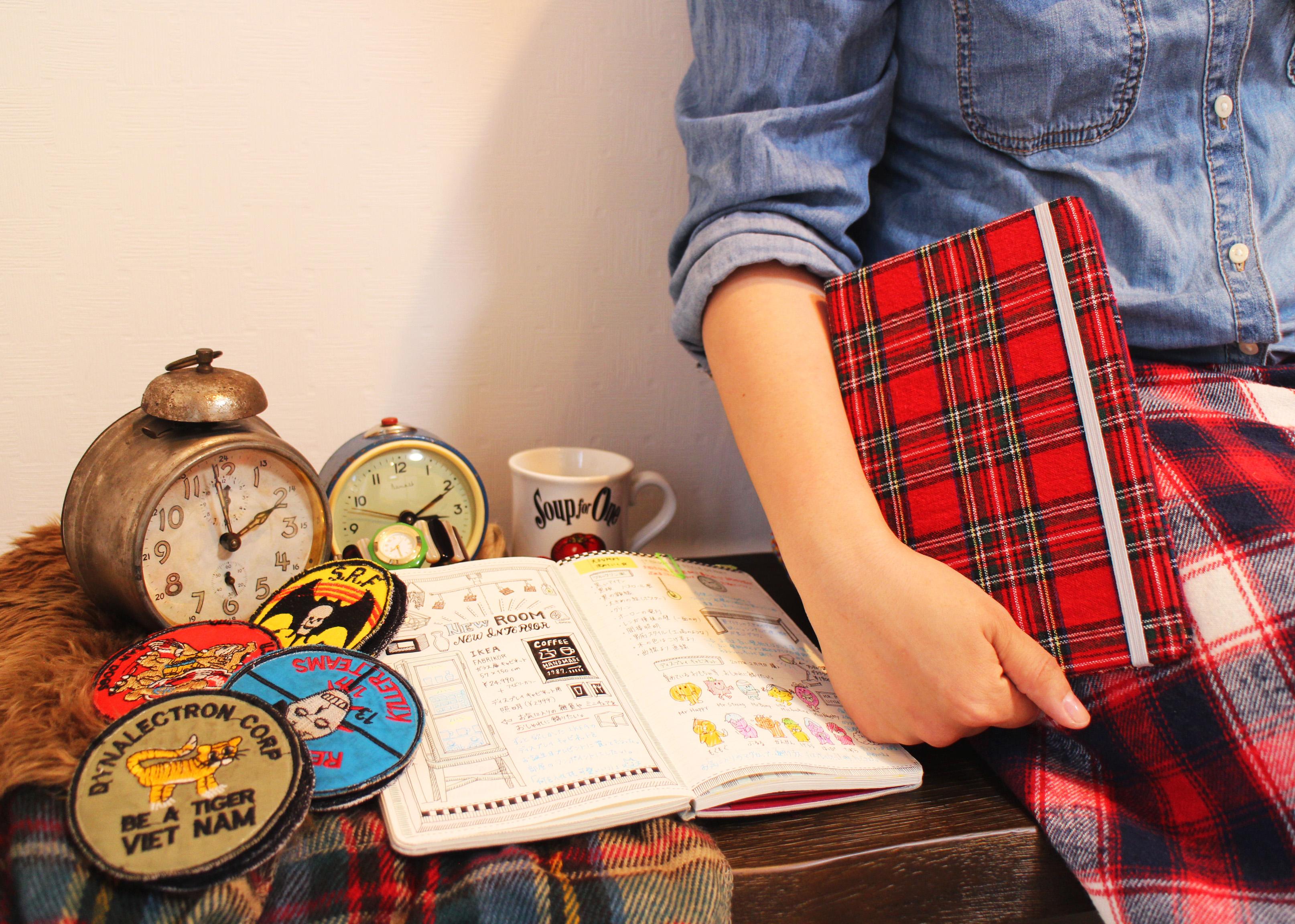 Tartan design notebooks made from my wardrobe.