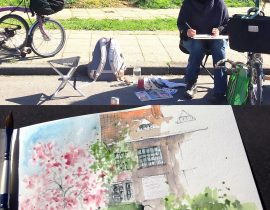 urban sketching cherry blossoms