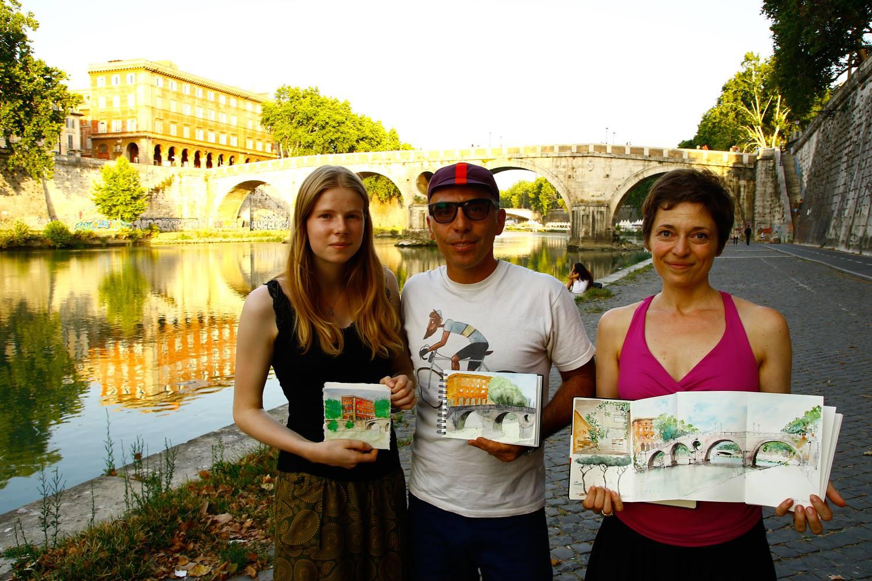 urban sketching ponte Sisto a Roma in japanese Moleskine