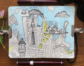 City Map Drawing of Sydney, Ausralia