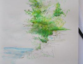 Moleskine watercolor pencils (Rocky shoreline sketch)