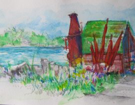 Watercolor pencils…Door County; Gills Rock…The Net Boiler