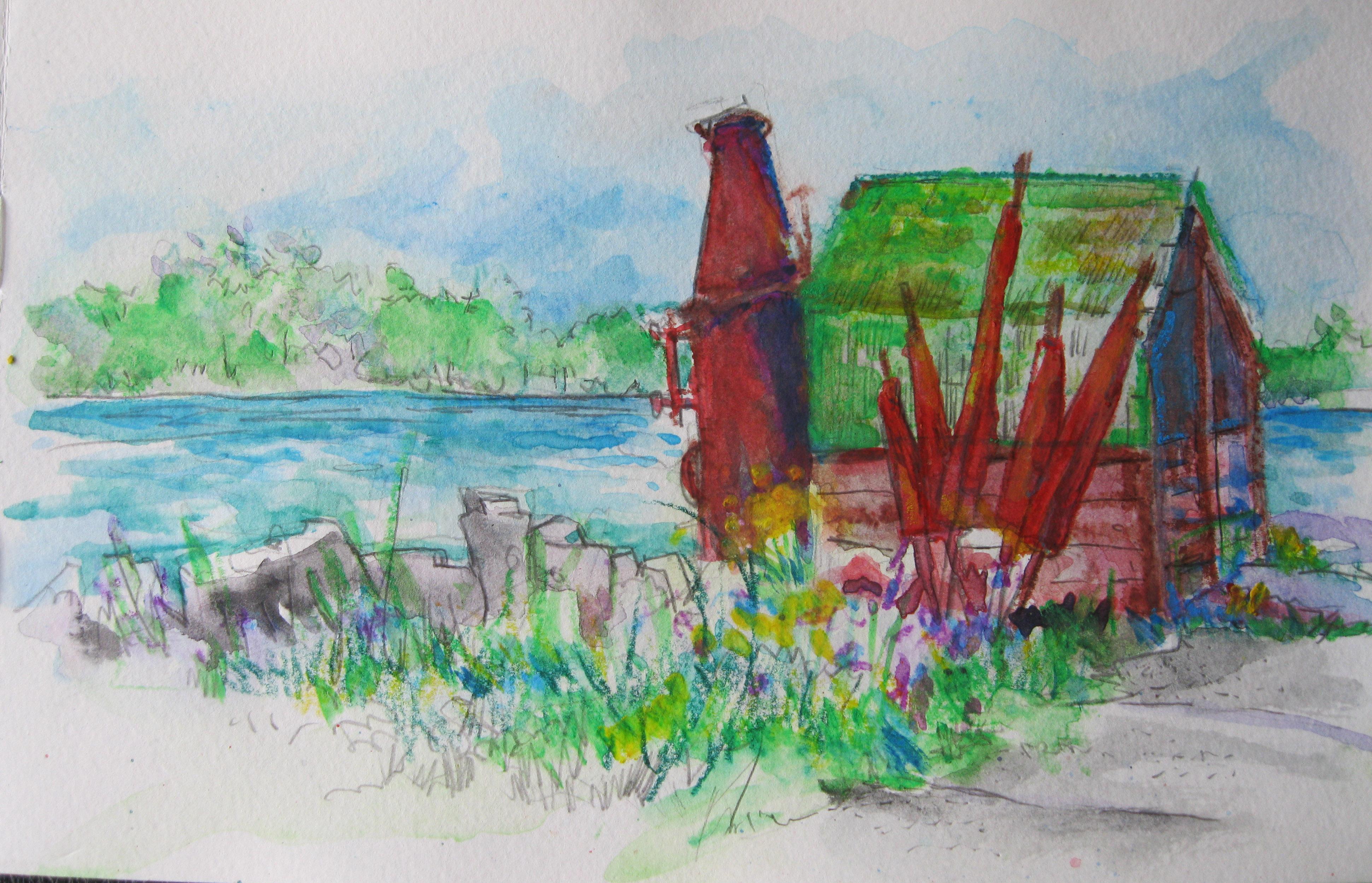 Watercolor pencils…Door County; Gills Rock…The Net Boiler