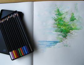 Moleskine watercolor pencils (The Cliffs of Door County)
