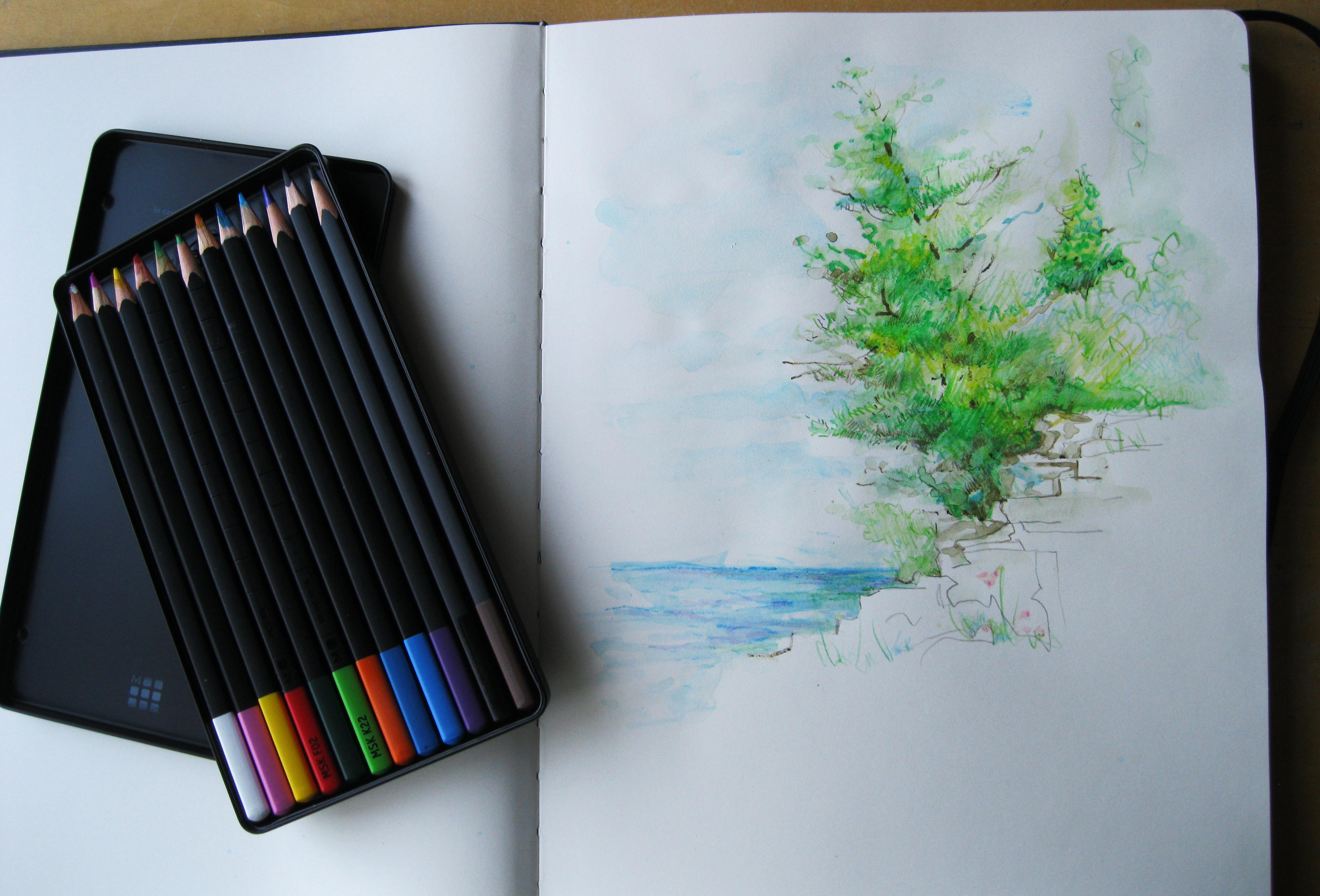 Moleskine watercolor pencils (The Cliffs of Door County)