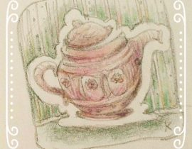 Tea-pot, roses and stripes