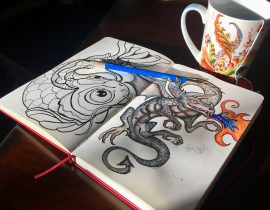 Koi Fish and Dragon sketch Ink ideas for journal cover