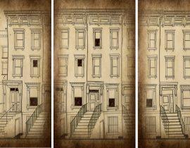 triptych of Brooklyn brownstones