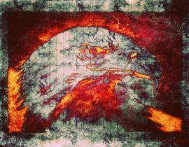 bald eagle (burning)