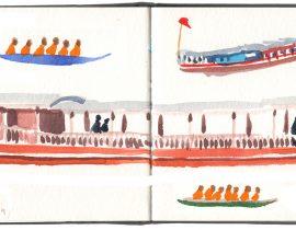 Laos: Mekong river boats at Luang Prabang.