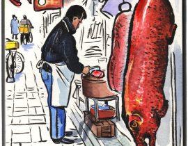 Hong Kong: Butcher, Tai Po market.
