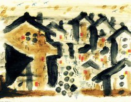 Chinese village by the Yellow River