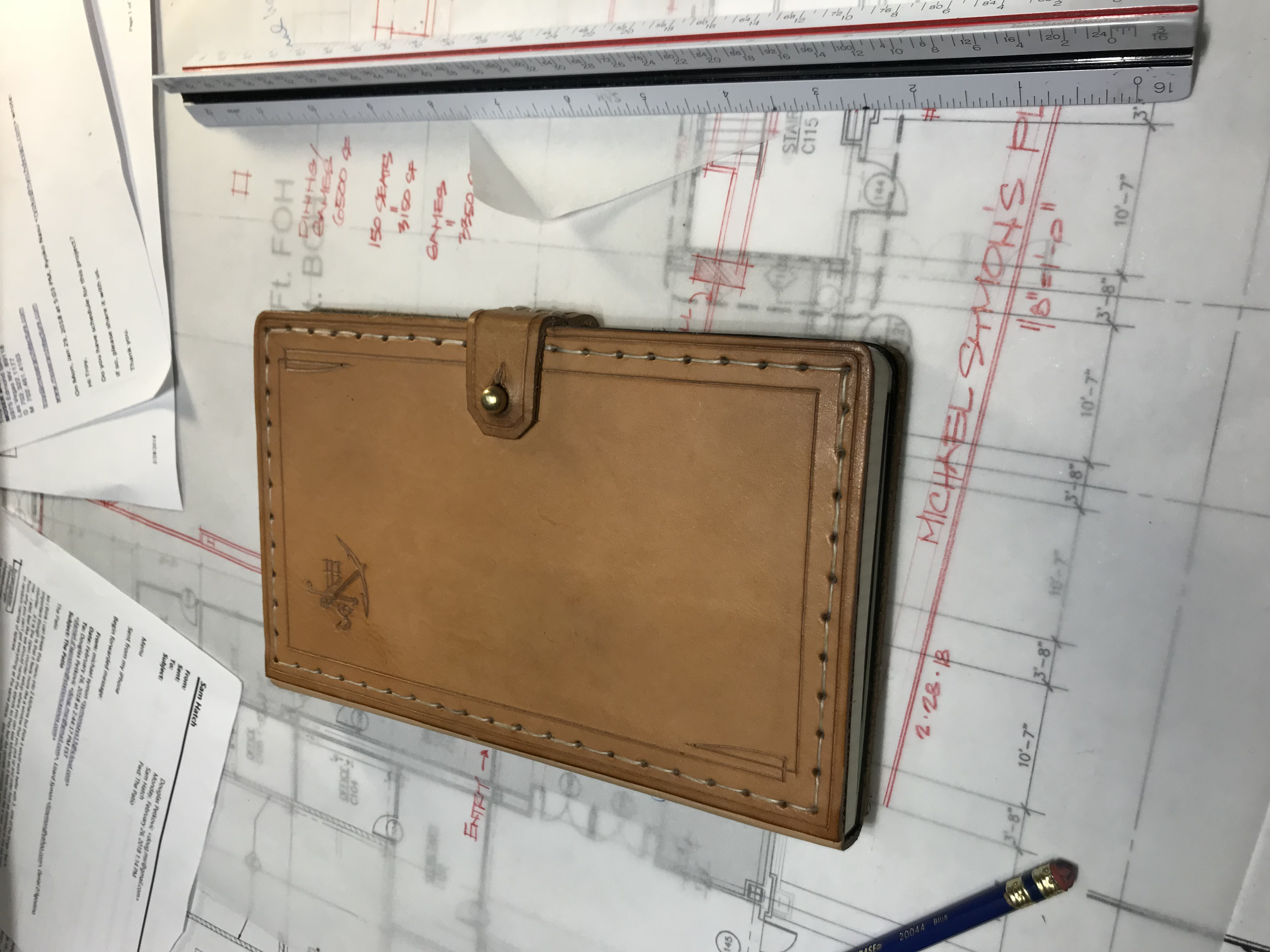 Hand sewn leather cover