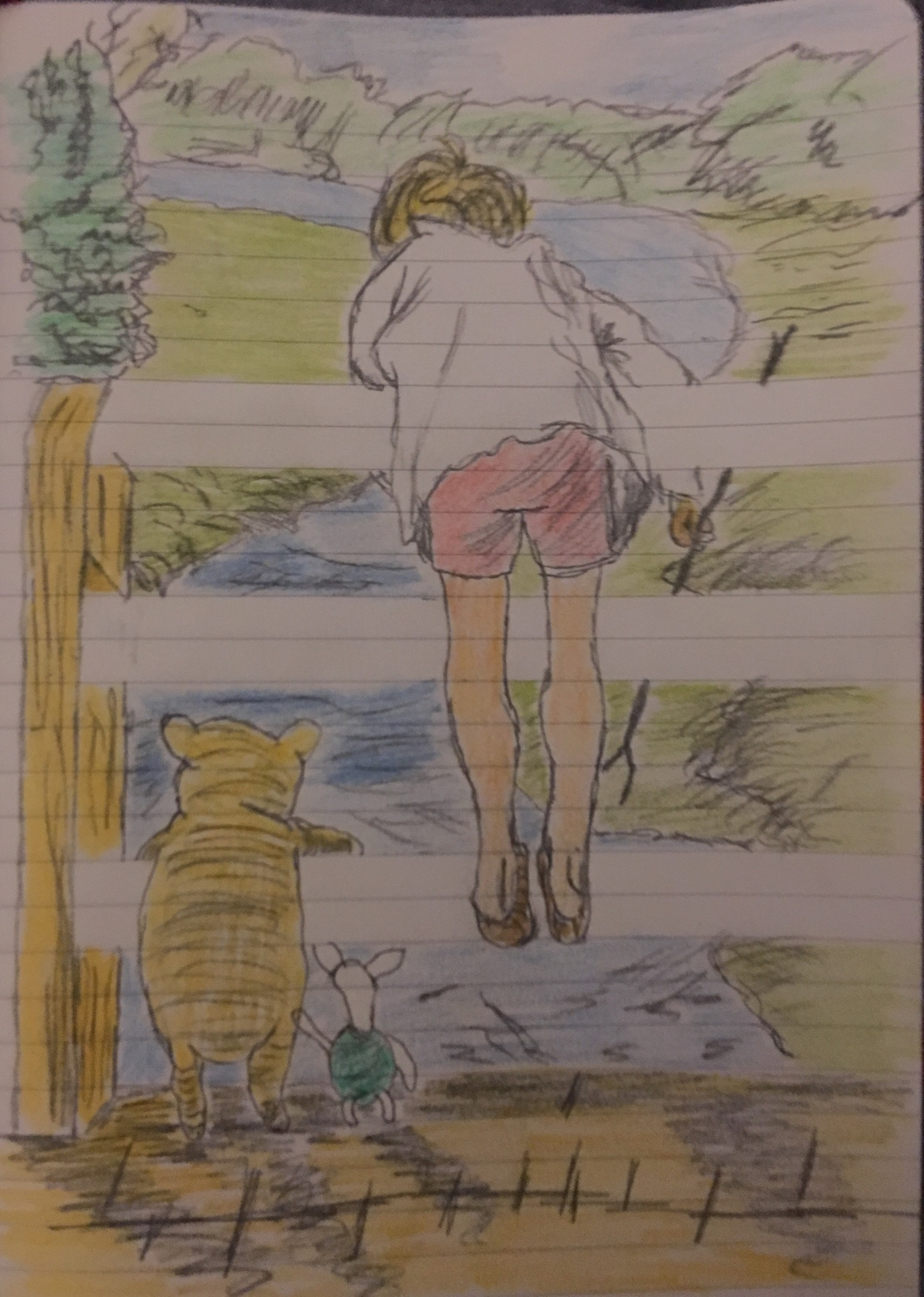 Sketch of Christopher Robin and Winnie the Pooh